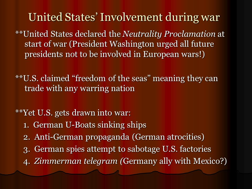 United States' Involvement during war