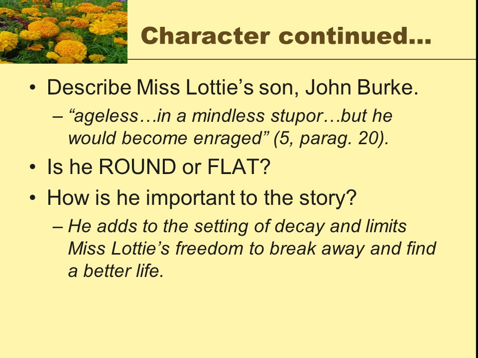 Character continued… Describe Miss Lottie's son, John Burke.