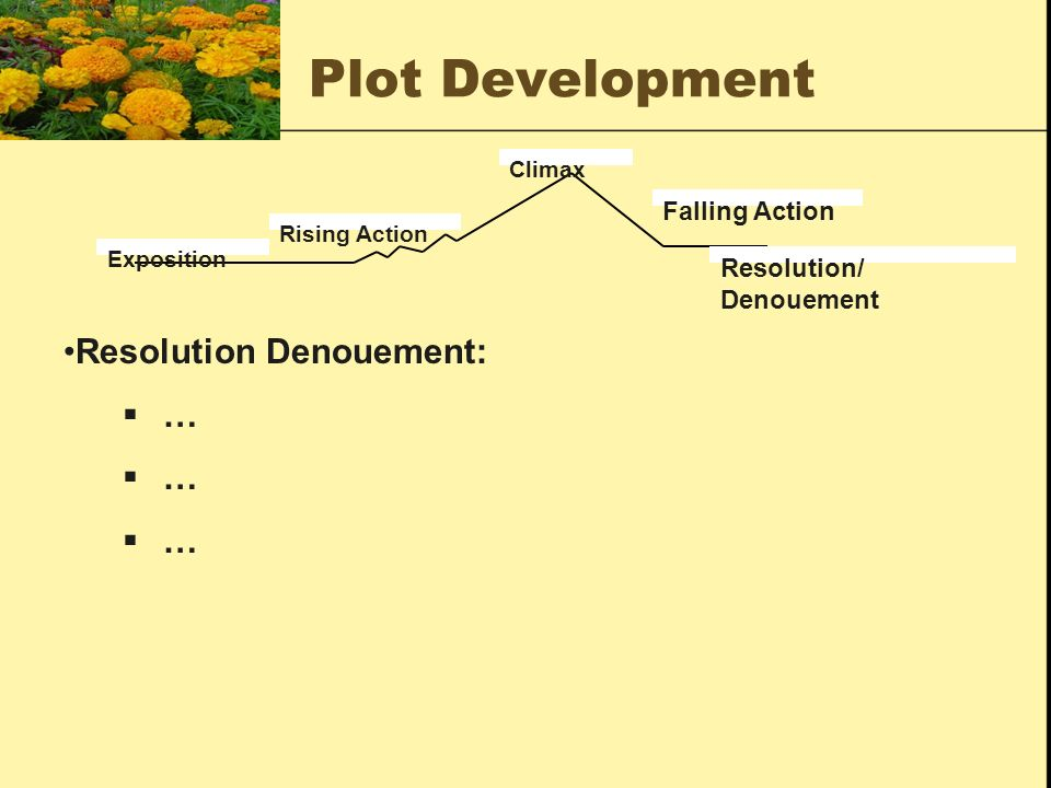 Plot Development Resolution Denouement: … Falling Action Resolution/