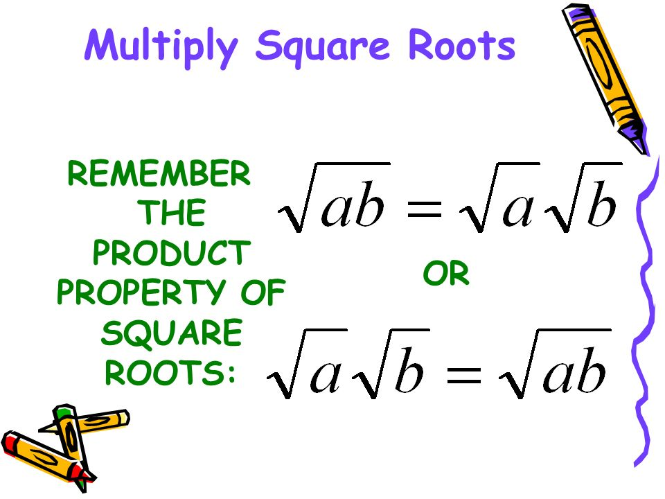 REMEMBER THE PRODUCT PROPERTY OF SQUARE ROOTS: