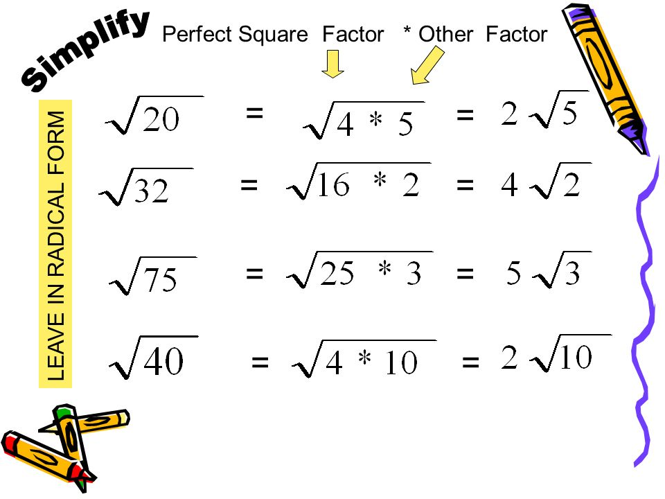 Simplify = = = = = = = = Perfect Square Factor * Other Factor