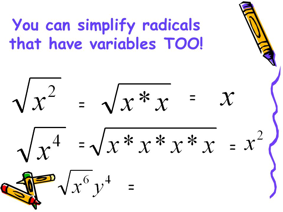 You can simplify radicals that have variables TOO!