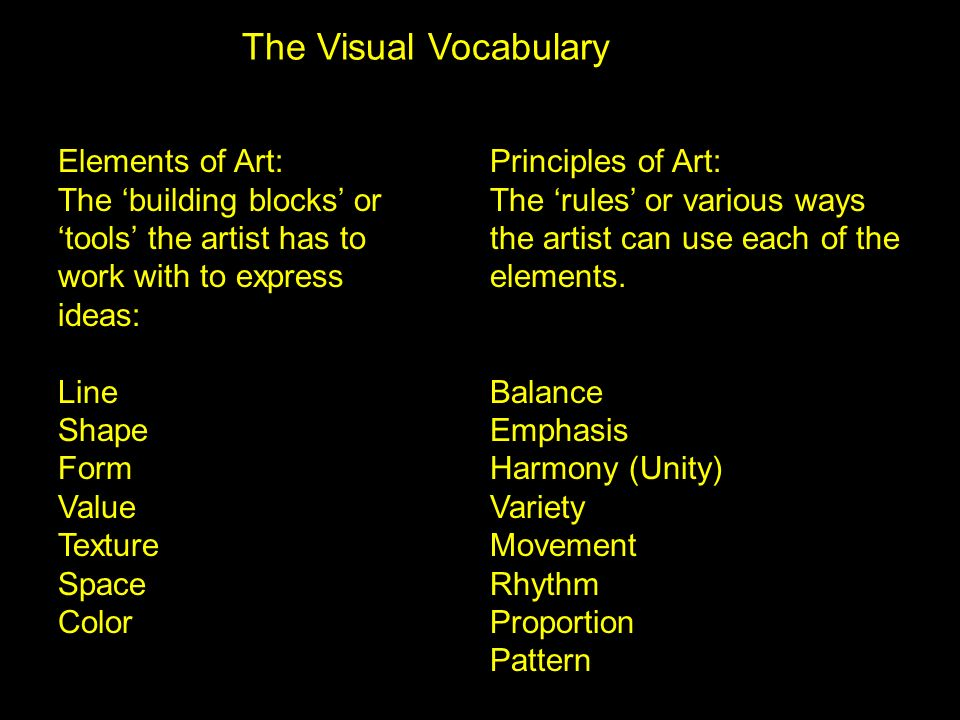 The Visual Vocabulary Elements of Art: