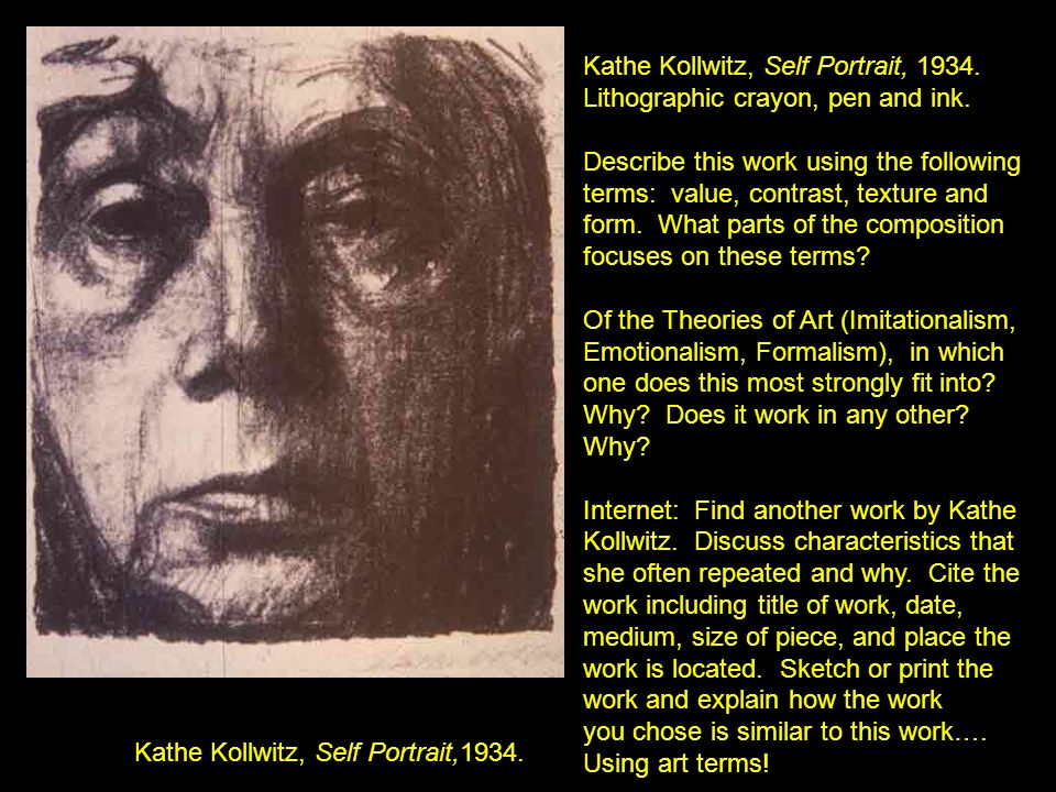 Kathe Kollwitz, Self Portrait, 1934. Lithographic crayon, pen and ink.