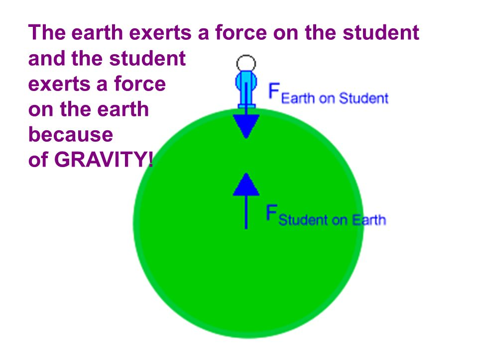 The earth exerts a force on the student