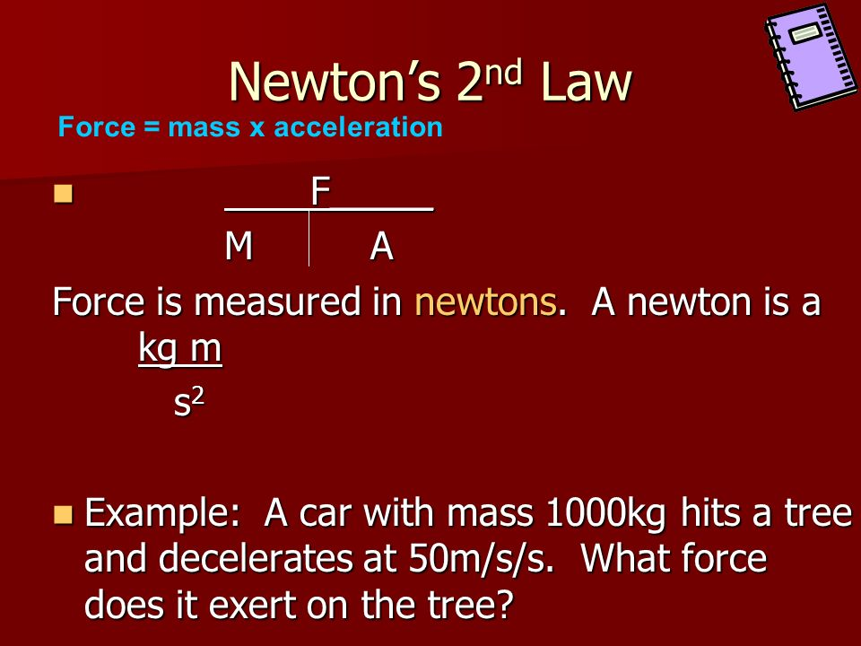 Newton's 2nd Law F_____ M A