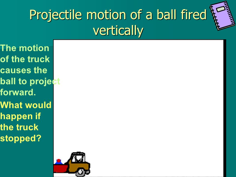Projectile motion of a ball fired vertically