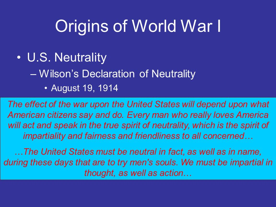 Origins of World War I U.S. Neutrality