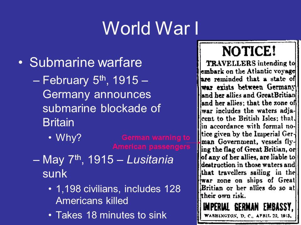 World War I Submarine warfare