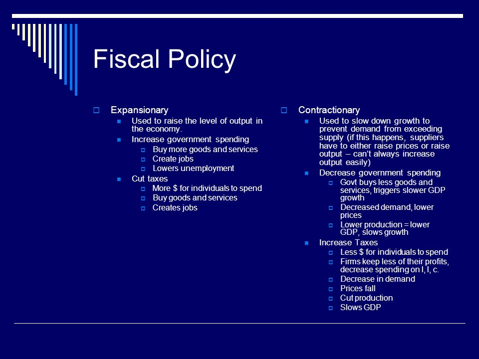 Fiscal Policy Expansionary Contractionary