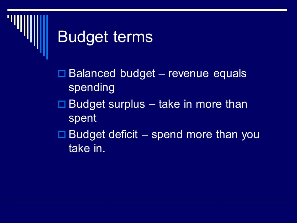 Budget terms Balanced budget – revenue equals spending
