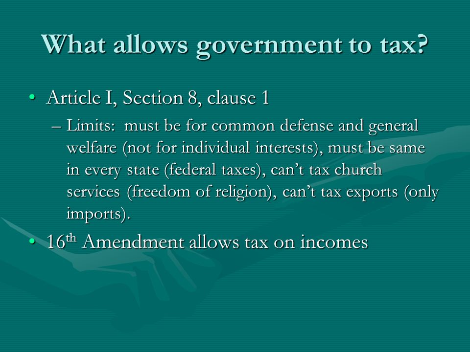 What allows government to tax
