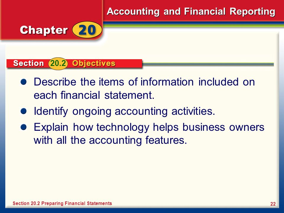 Identify ongoing accounting activities.