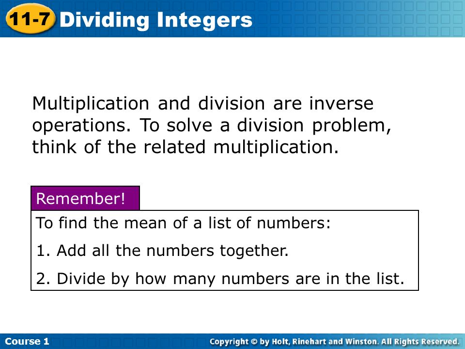Course 1 11-7. Dividing Integers.