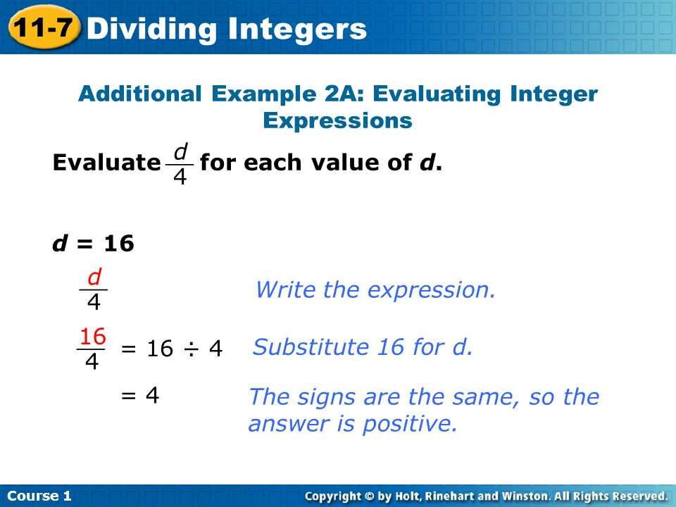 Additional Example 2A: Evaluating Integer Expressions
