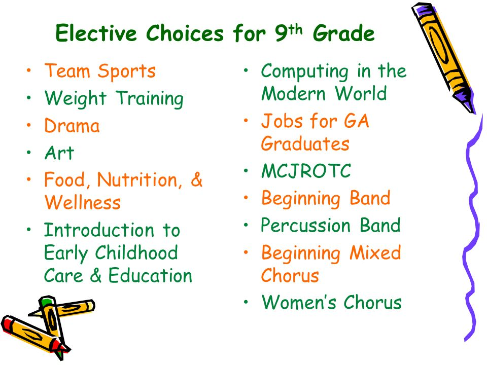 Elective Choices for 9th Grade