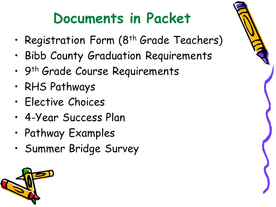 Documents in Packet Registration Form (8th Grade Teachers)