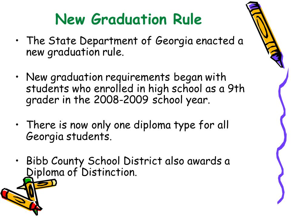 New Graduation Rule The State Department of Georgia enacted a new graduation rule.