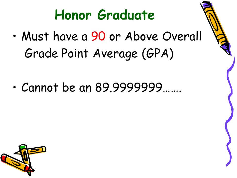 Honor Graduate Must have a 90 or Above Overall