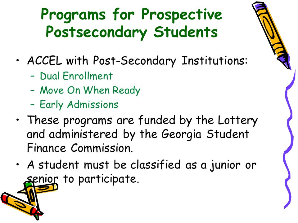 Programs for Prospective Postsecondary Students