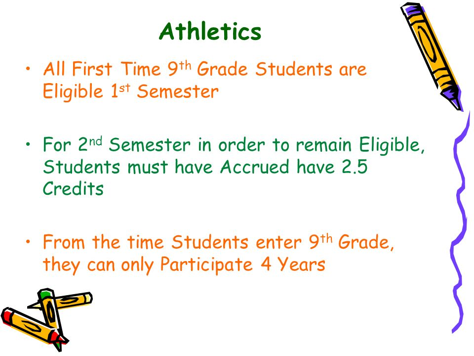 Athletics All First Time 9th Grade Students are Eligible 1st Semester