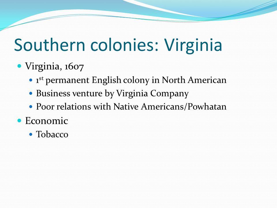 Southern colonies: Virginia