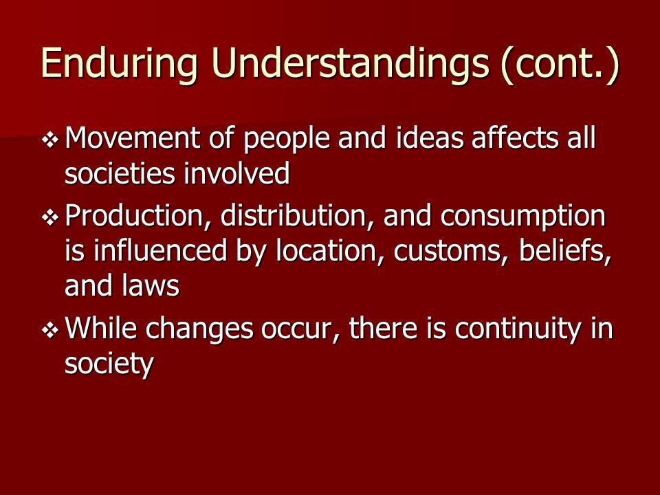 Enduring Understandings (cont.)