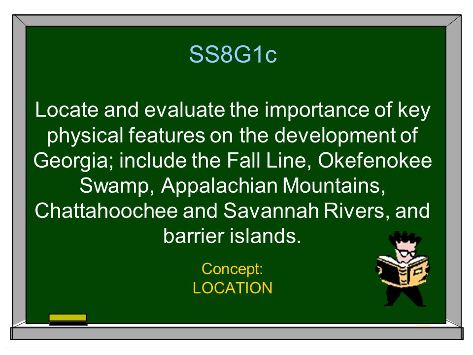 SS8G1c Locate and evaluate the importance of key physical features on the development of Georgia; include the Fall Line, Okefenokee Swamp, Appalachian Mountains, Chattahoochee and Savannah Rivers, and barrier islands.