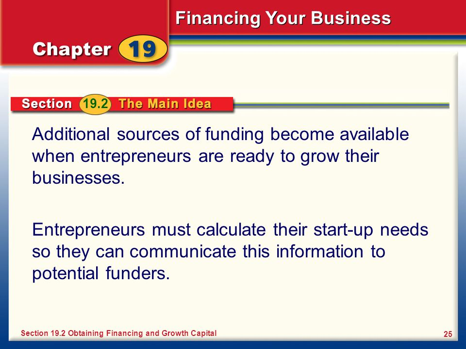 19.2 Additional sources of funding become available when entrepreneurs are ready to grow their businesses.