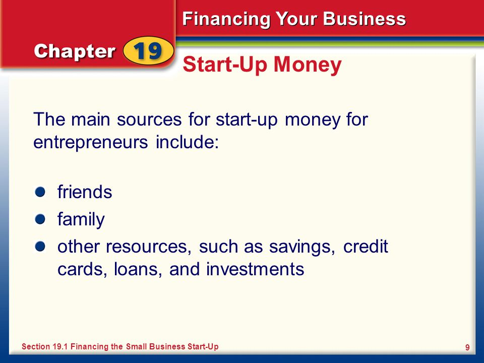 Start-Up Money The main sources for start-up money for entrepreneurs include: friends. family.