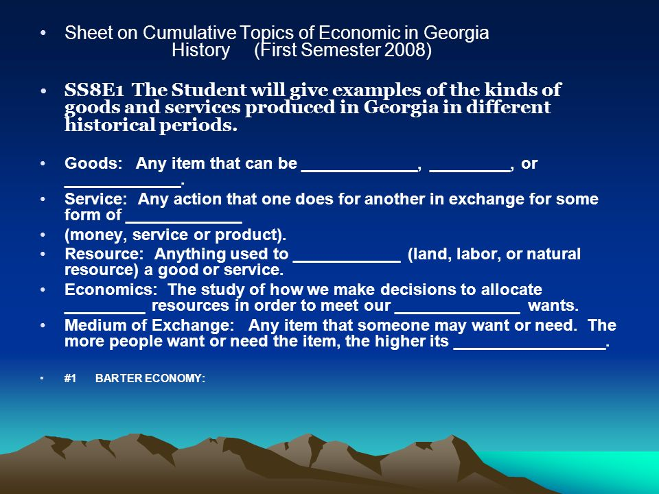 Sheet on Cumulative Topics of Economic in Georgia