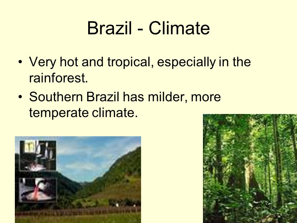 Brazil - Climate Very hot and tropical, especially in the rainforest.