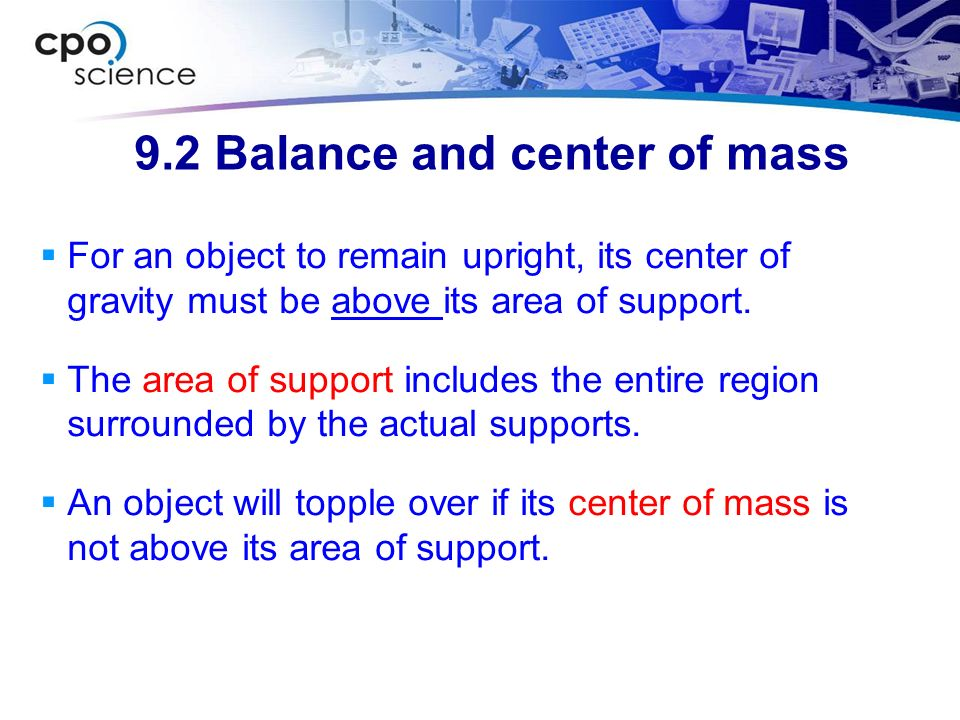 9.2 Balance and center of mass