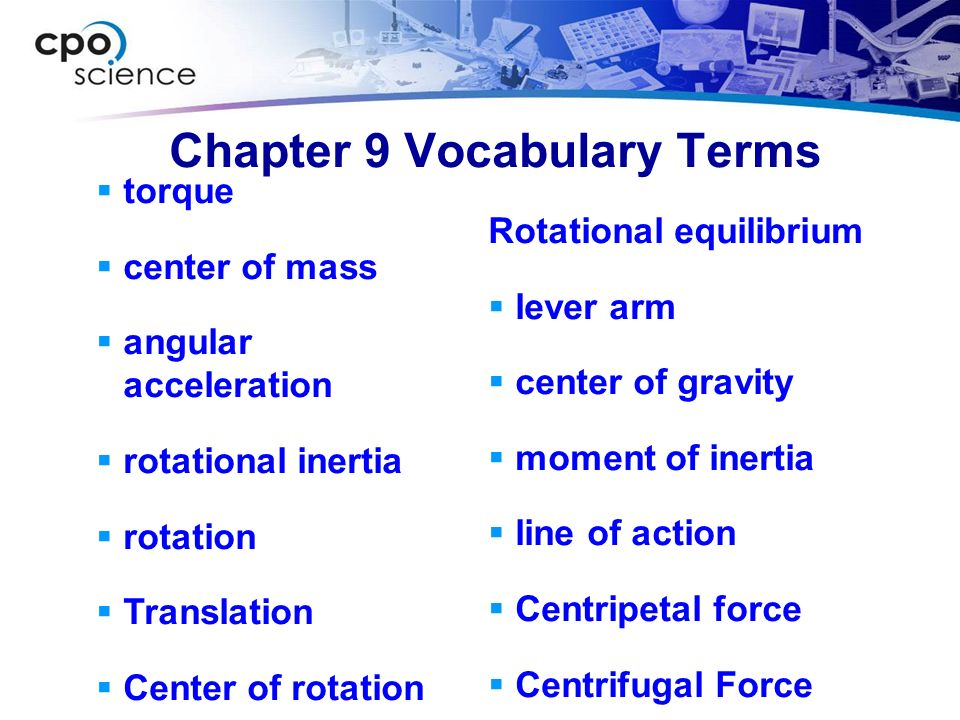 Chapter 9 Vocabulary Terms