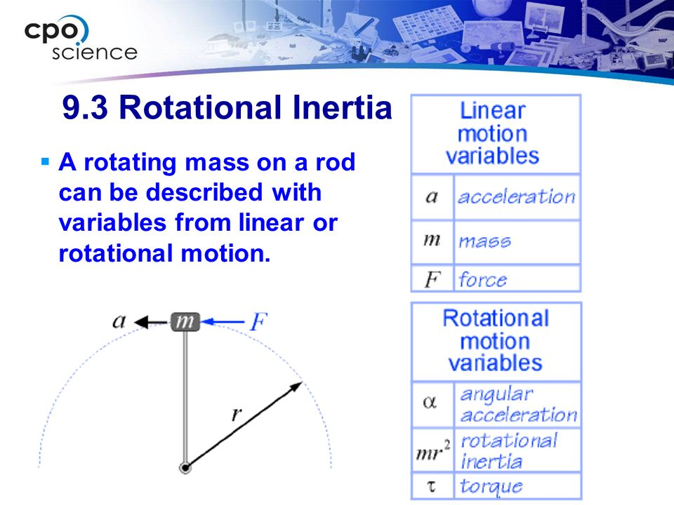 9.3 Rotational Inertia A rotating mass on a rod can be described with variables from linear or rotational motion.