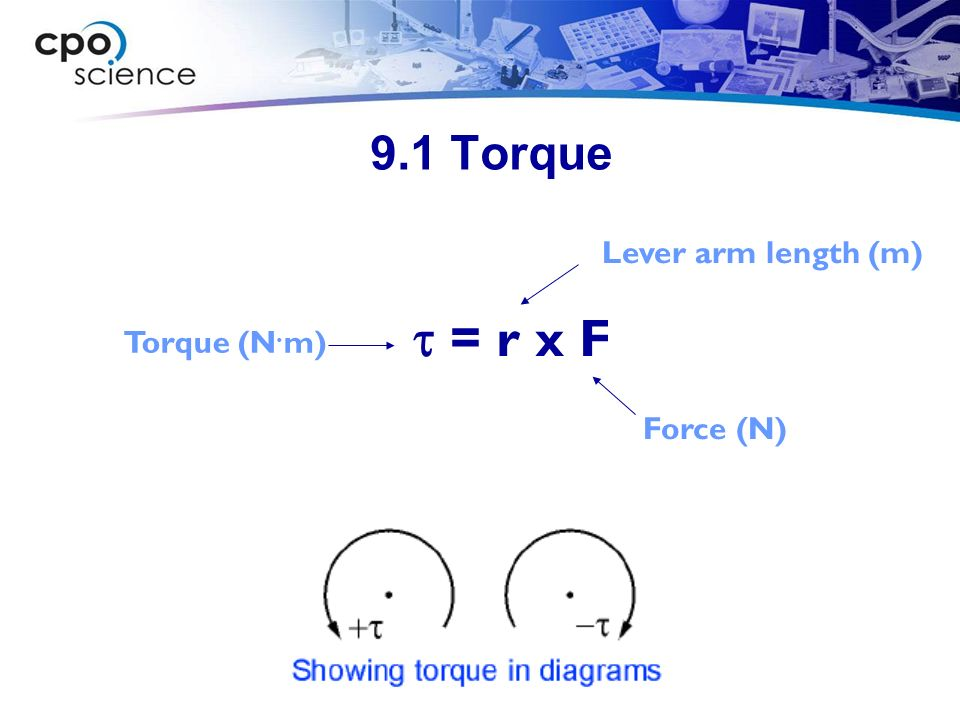 9.1 Torque Lever arm length (m) t = r x F Torque (N.m) Force (N)