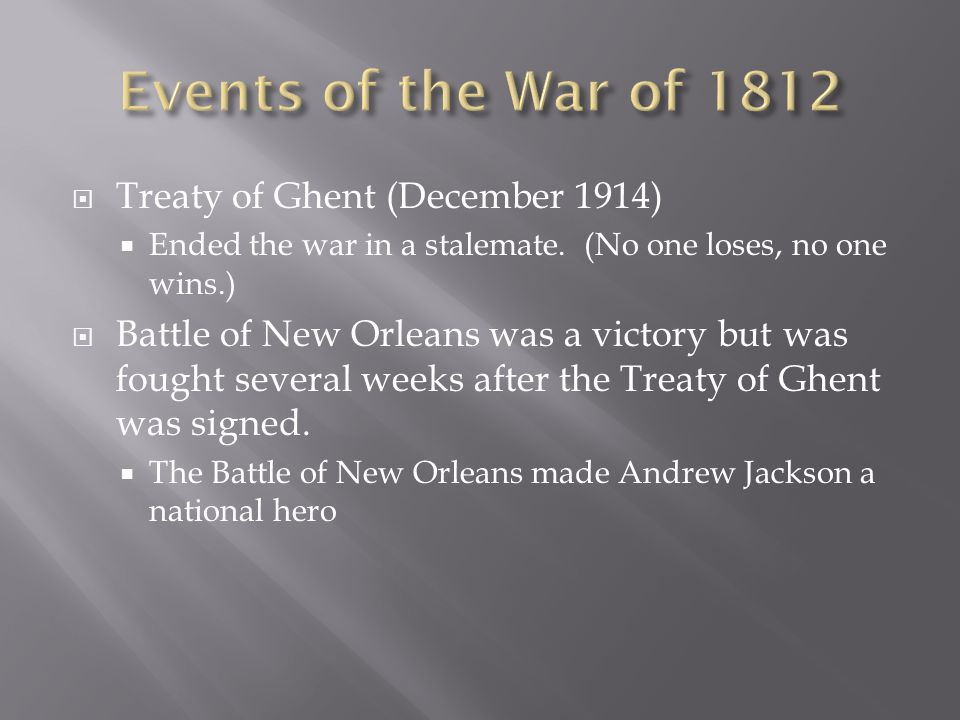 Events of the War of 1812 Treaty of Ghent (December 1914)