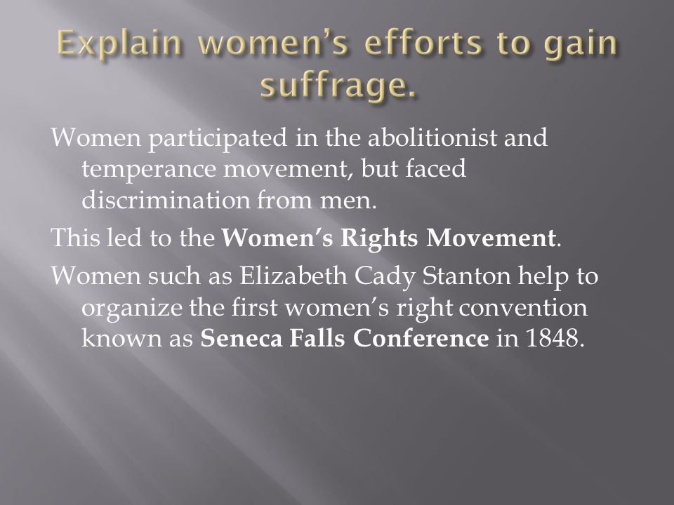 Explain women's efforts to gain suffrage.