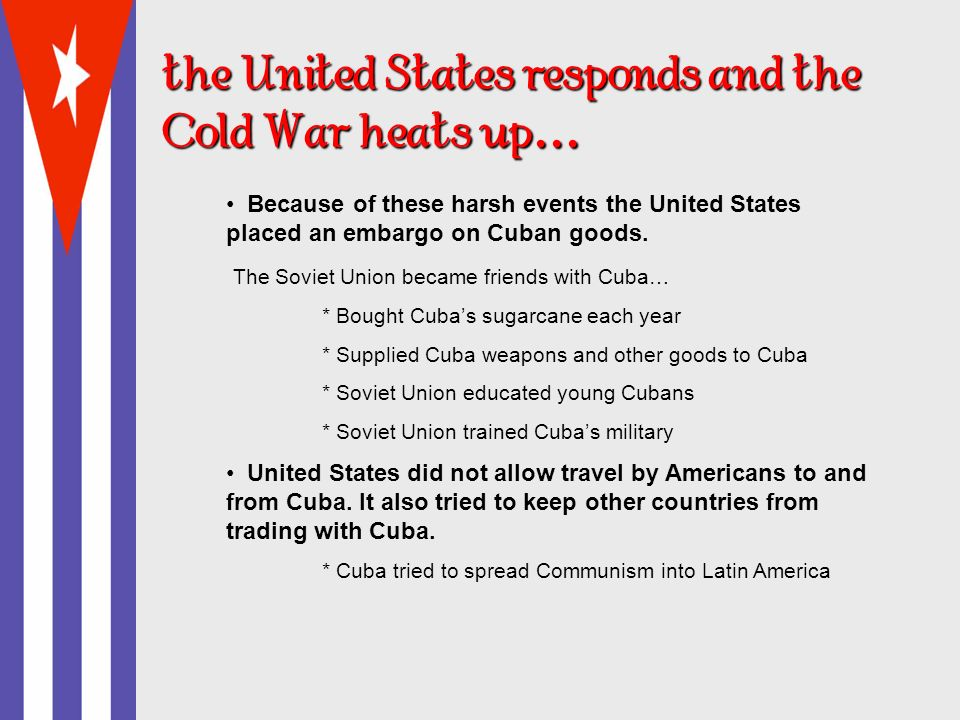 the United States responds and the Cold War heats up….. 1961