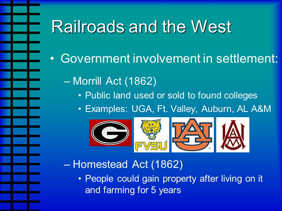 Railroads and the West Government involvement in settlement: