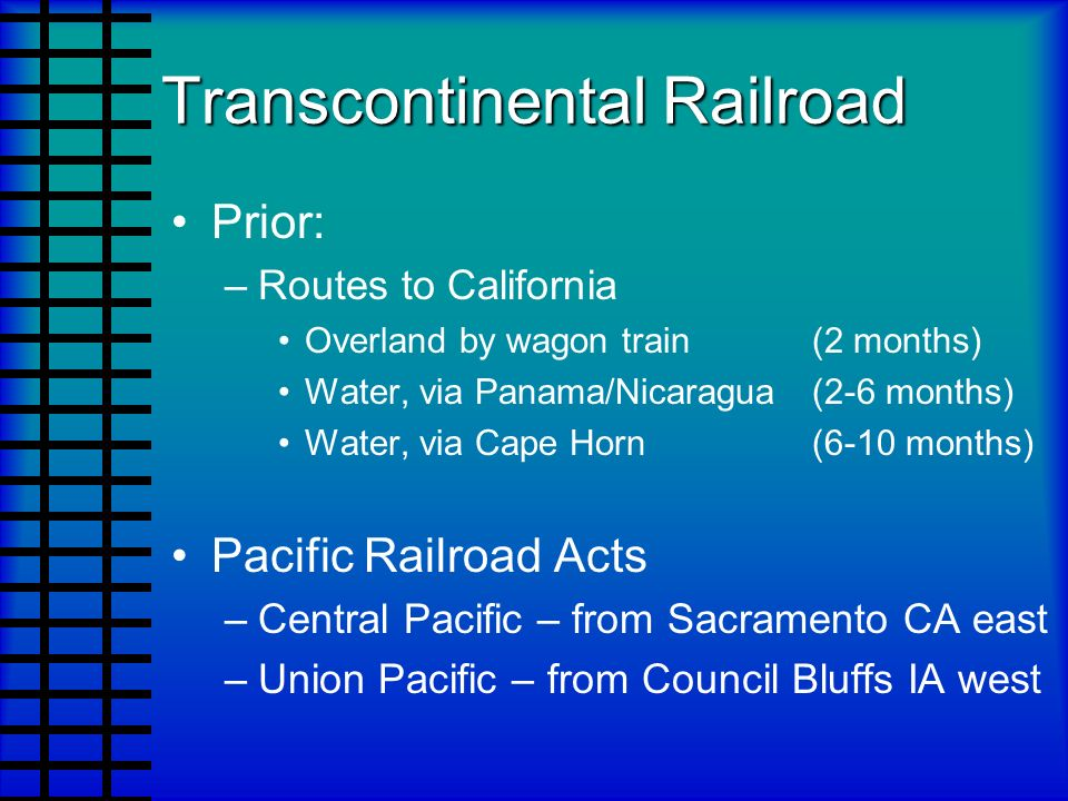 the economic gains and losses of the transcontinental railroad of california Map and facts about the 1853 gadsden purchase for kids the land bought in the gadsden purchase provided a viable route for a southern transcontinental railroad from el paso, in the far california on the pacific coast gadsden purchase for kids franklin pierce was the 14th american.