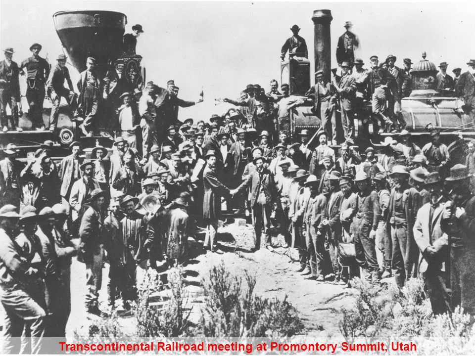 Transcontinental Railroad meeting at Promontory Summit, Utah