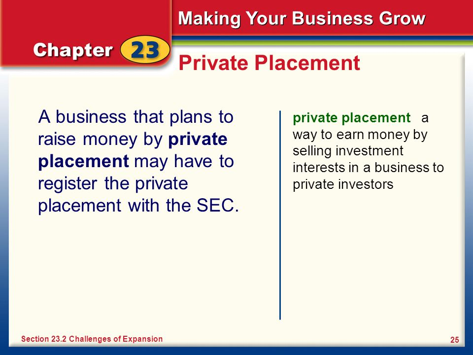 Private Placement A business that plans to raise money by private placement may have to register the private placement with the SEC.