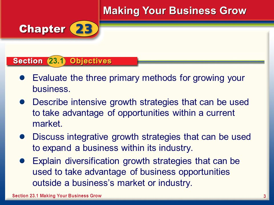 Evaluate the three primary methods for growing your business.