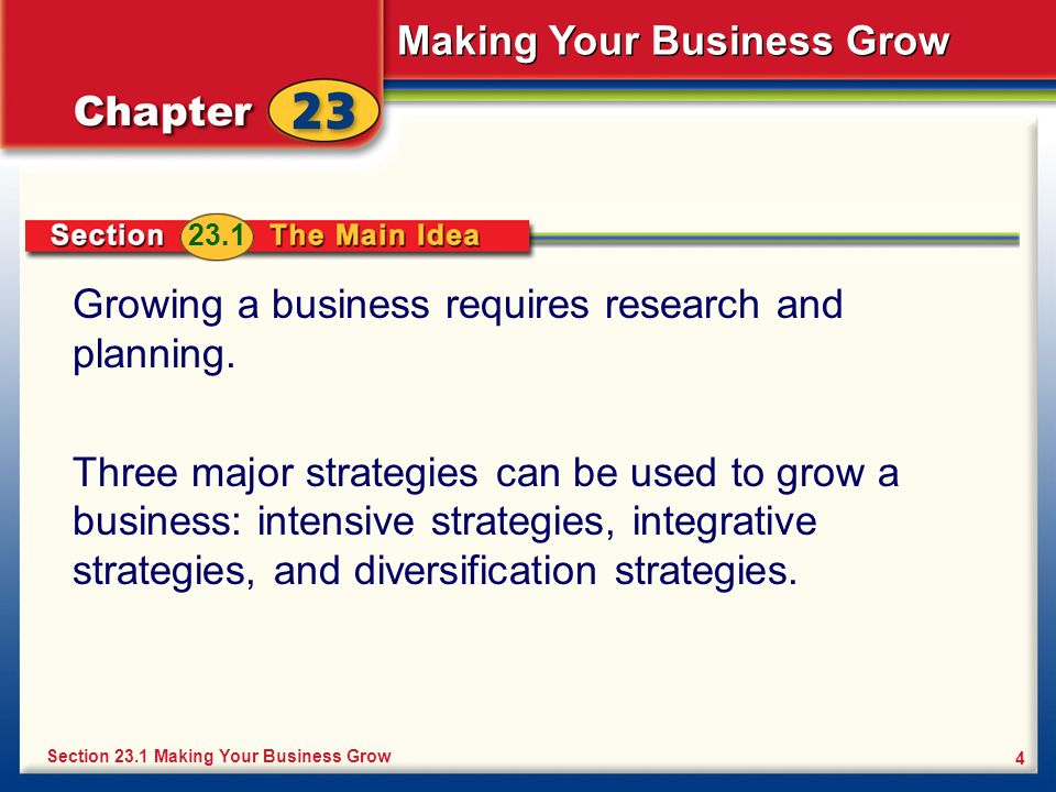 Growing a business requires research and planning.