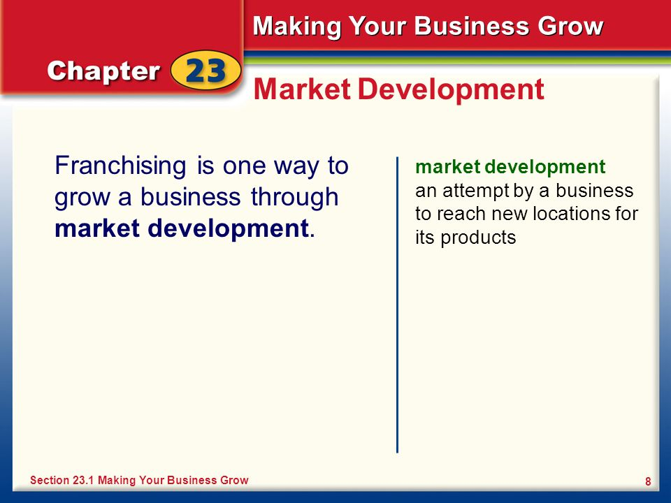 Market Development Franchising is one way to grow a business through market development.