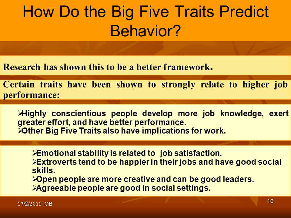 five traits predict behaviour at work The big five traits to the behavior significantly improved the fit of  depicts a  model testing whether the metatraits predict a behavior  produced a work of art.