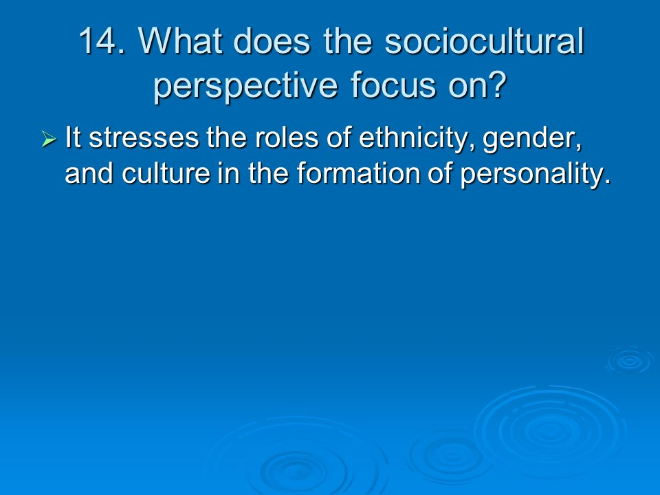 14. What does the sociocultural perspective focus on