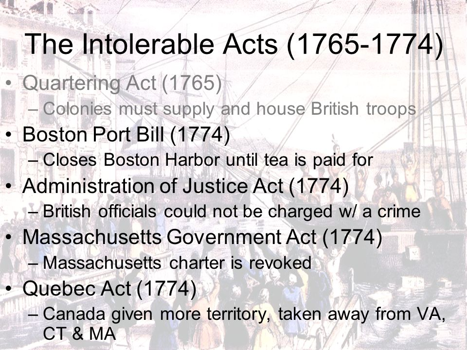 intolerable acts Introduction king george lll, the colonists, thomas hutchinson, and thomas gage all of these people were a part of a series of acts that helped start a revolution.