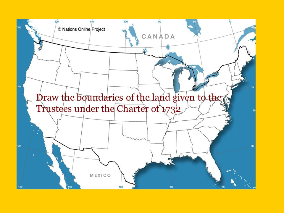 Draw the boundaries of the land given to the Trustees under the Charter of 1732